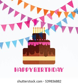 Happy birthday background with Isolated cake and flag garland
