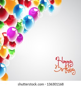 Happy Birthday Background with multicolored balloons