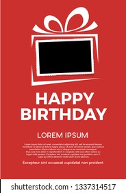 happy birthday and background with photo, blank frame. Vector template with picture to insert