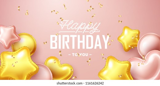 Happy Birthday background with pink and gold floating balloons. Vector illustration.