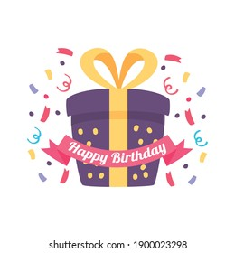 happy birthday badge with gift box, confetti and ribbon decoration vector illustration design