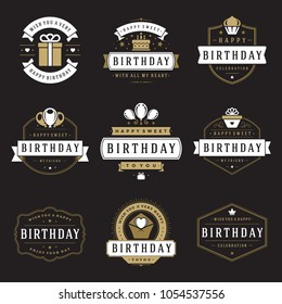 Happy Birthday Badges and Labels Vector Design Elements Set. Birthday and Anniversary wishes typography messages for greeting cards. Decoration objects, symbols and ornaments Illustration.