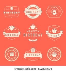 Happy Birthday Badges and Labels Vector Design Elements Set. Birthday and Anniversary wishes typography messages for greeting cards. Decoration objects, symbols and ornaments Illustration eps 10.