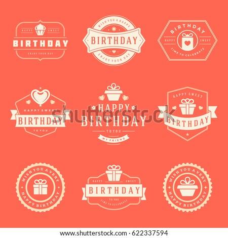 happy birthday badges labels vector design のベクター画像素材