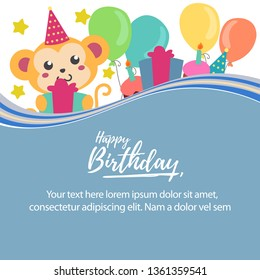 happy birthday balloon template and cute monkey vector template