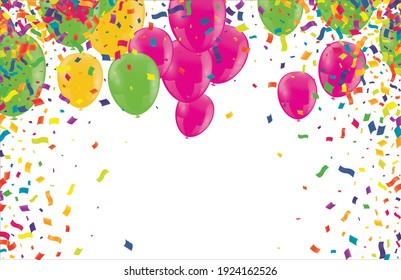 Happy Birthday - Balloons Background Design (place for text) vector birthday card, party invitation, banner,