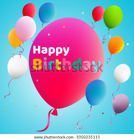 Happy Birthday Balloons Color Vector Illustration