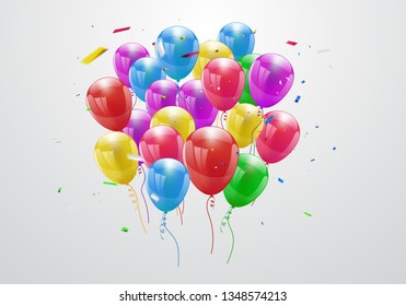 Happy Birthday balloons Colorful celebration background with confetti. - Vector