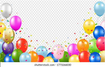 Happy Birthday Banner With Balloons Transparent Background With Gradient Mesh, Vector Illustration