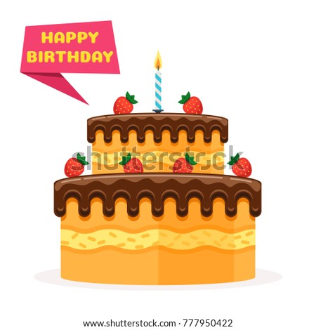 happy birthday banner birthday cake strawberries stock vector