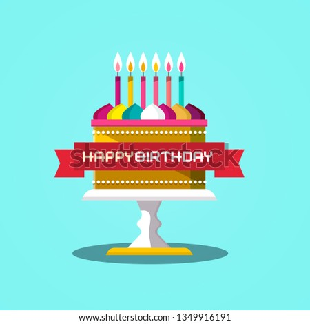 Happy Birthday Banner With Cake Vector Design On Blue Background