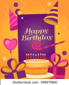 Happy Birthday banner with gift, cake, balloon, klaxon, cap. Vector background for posters, postcards, invitation card, web pages, covers, flyers. Template for text. Greeting card.