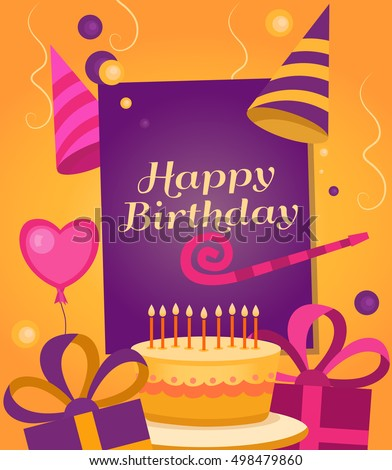 Happy Birthday Banner With Gift Cake Balloon Klaxon Cap Vector Background