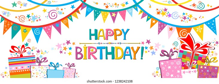 Happy Birthday Banner. Greeting card. Celebration white background with colorful flags, gift box, stars and place for your text. Horizontal banner. Greeting, invitation card or flyer. Vector