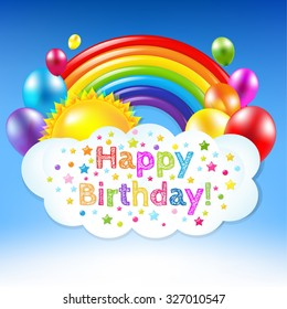 Happy Birthday Banner With Rainbow With Gradient Mesh, Vector Illustration