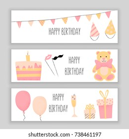 Happy birthday banner set, vector design with cake and champagne