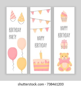 Happy birthday banner set, vector design with a cake and balloons