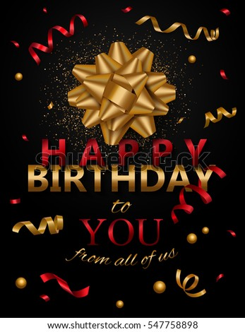 happy birthday banner template with realistic bow and gold ribbon vector illustration