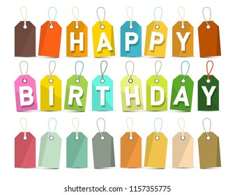 Happy Birthday Banner. Vector Paper Cut Title on Colorful Labels Isolated on White Background