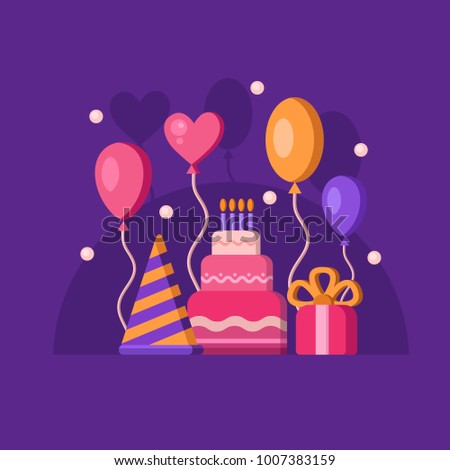 Happy Birthday Banners Cake Balloons Gift Stock Vector Royalty Free