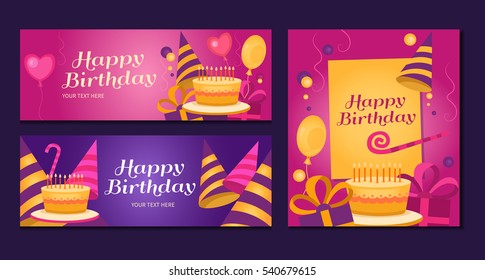 Happy birthday banners collection. Set of greeting templates. Invitation cards to the party. Vector cards with cake, balloons, candy, gifts and caps.