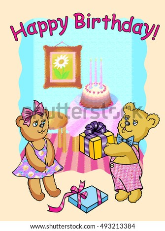 Happy Birthday Bear Gives Gift His Stock Vector Royalty Free