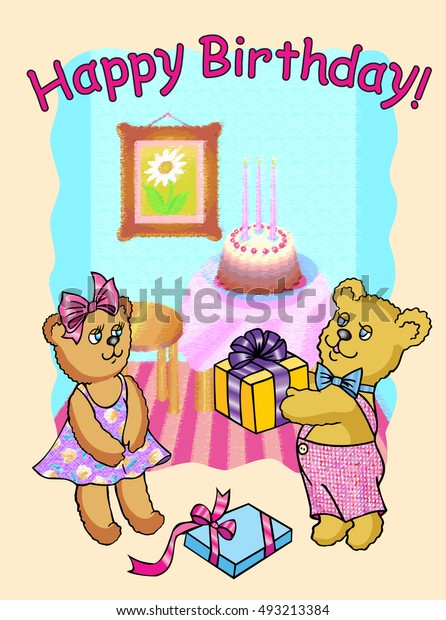 Happy Birthday Bear Gives Gift His Stock Vector Royalty