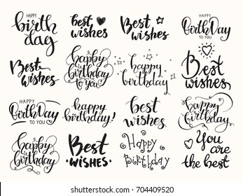 Happy birthday & Best wishes. Handwritten modern brush lettering made with ink. Big artistic collection of design elements for congratulation card, banner, poster, flyer templates. Isolated vector set