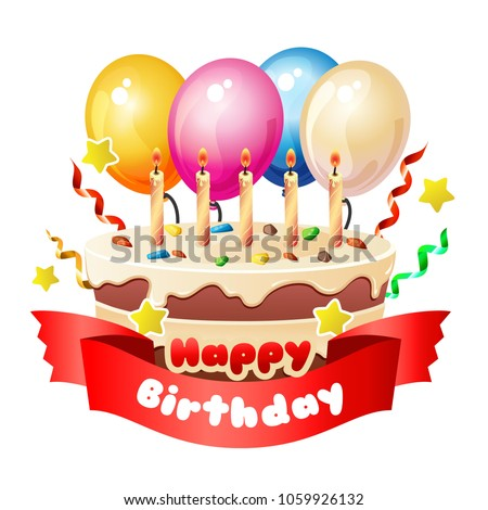 Happy Birthday Big Cake Ribbon