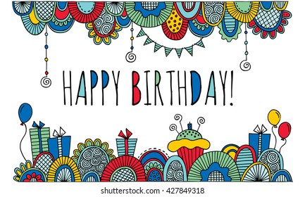 Happy Birthday with Border Hand Drawn Vector Bright Colors Colorful birthday vector with the words happy birthday in the center, balloons, birthday cakes, candles, presents, bunting & abstract shapes.