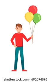Happy birthday boy WIth Balloons.Boy holding colorful balloons.vector illustration isolated over a white background.Smiling young man with bunch of colorful balloons in his hand.
