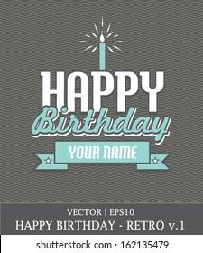 Happy birthday boy retro card template vector | EPS10