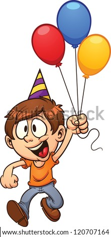 Happy Birthday Boy Vector Clip Art Illustration With Simple Gradients All In A Single
