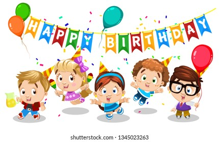 Happy birthday. Boys and girls dance and celebrate holiday. Kid`s party with color pennants, confetti, juices, hats, toy balloons. Cartoon illustration on white for postcard, greeting card, flyer.