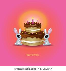 Happy Birthday. Bunnies and cake