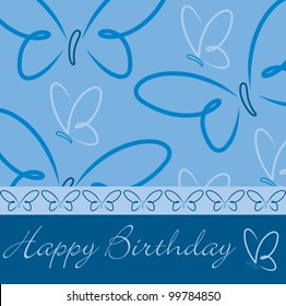 Happy Birthday butterfly card in vector format.