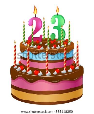 Happy Birthday Cake 23 Stock Vektorgrafik Lizenzfrei 535118350