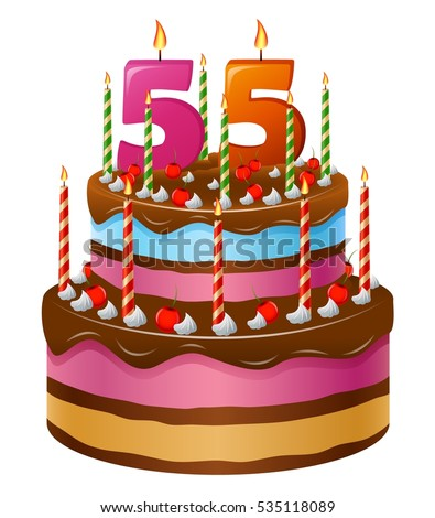 Happy Birthday Cake 55 Stock Vector (Royalty Free) 535118089 ...