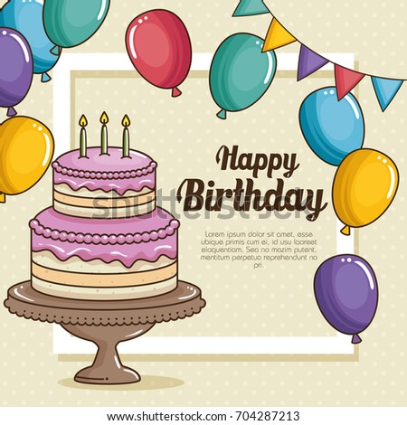 Happy Birthday Cake Balloons Design Stock Vector Royalty Free