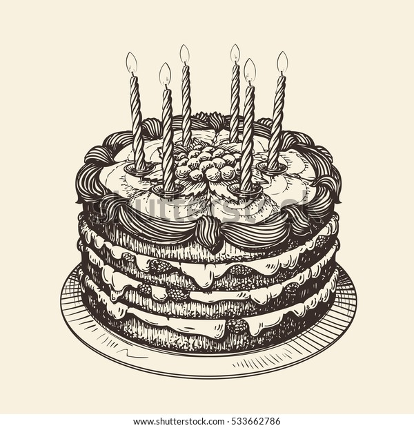 Happy Birthday. Cake with burning candles. Sketch vector illustration