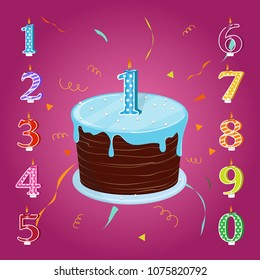 Happy birthday cake with candles numbers for each year. Vector illustration. A set for a birthday party.