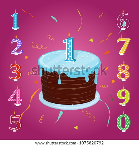 Happy Birthday Cake With Candles Numbers For Each Year Vector Illustration A Set
