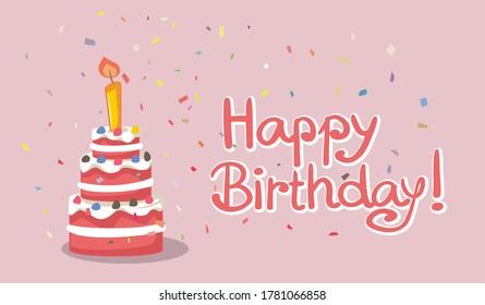 Happy Birthday Cake Card Design Vector Illustration. Anniversary wishes on celebratory postcard design