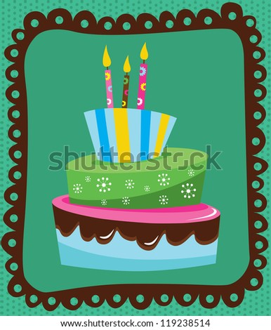 Happy Birthday Cake Card Design Vector Stock Vektorgrafik