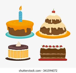 Happy birthday cake dessert graphic design, vector illustration eps10