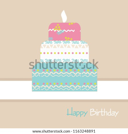Happy Birthday Cake With Funny Patterns On A Beige Background Vector Illustration