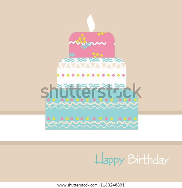 Peachy Happy Birthday Cake Funny Patterns On Stock Vector Royalty Free Personalised Birthday Cards Veneteletsinfo