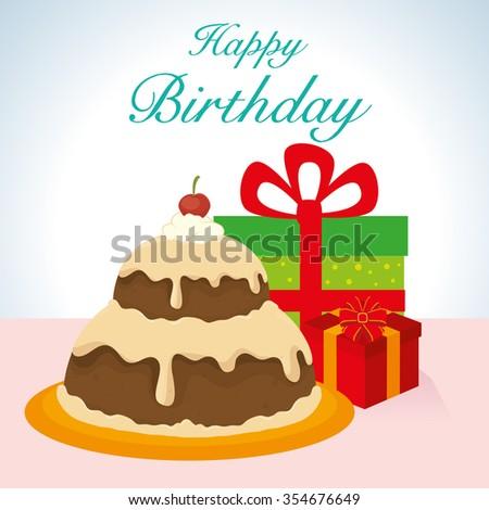Happy Birthday Cake Graphic Design Vector Illustration Eps10