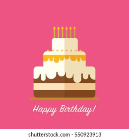 Happy birthday cake for greeting card design isolated in flat style