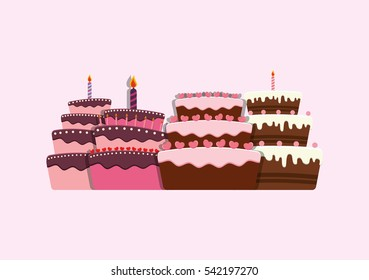 Birthday Cake Images Vektor ~ Happy birthday card birthday cake colorful stock vector